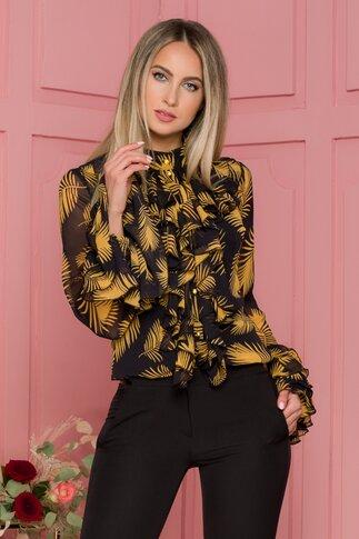 Bluza LaDonna neagra cu frunze galbene si volane pe bust