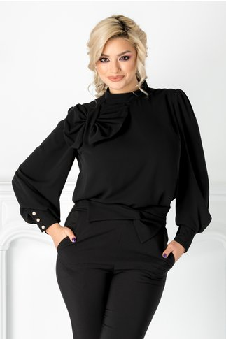 Bluza LaDonna neagra cu funda maxi la umar