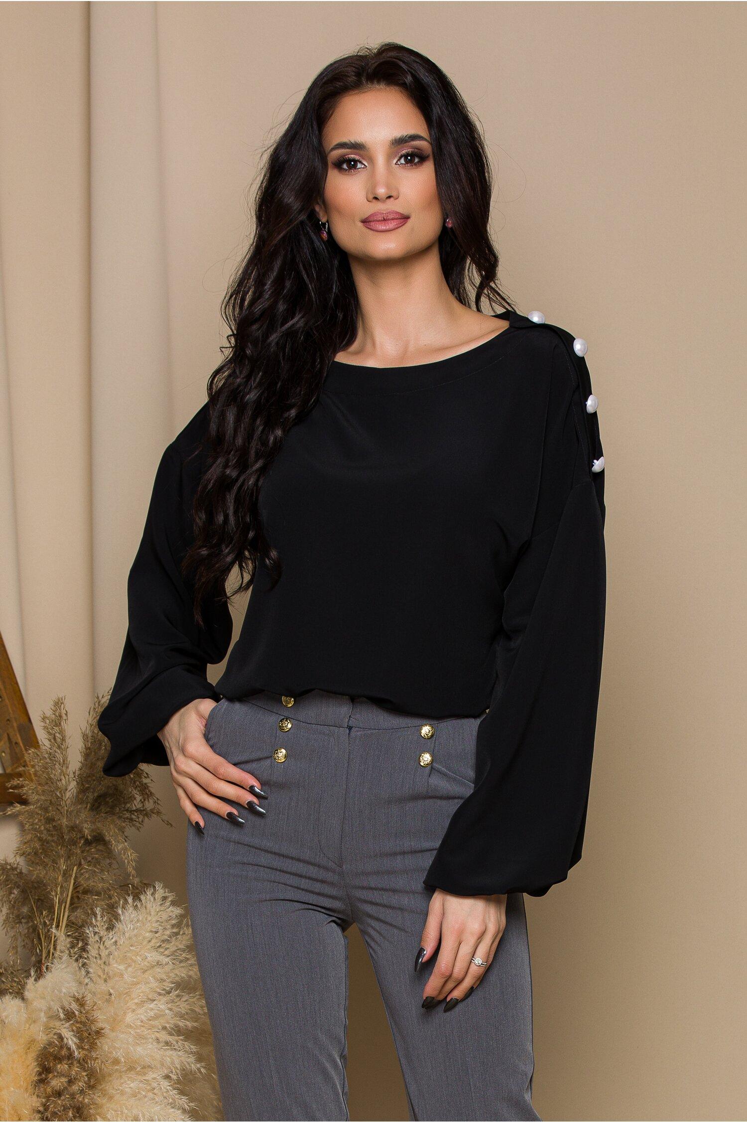 Bluza LaDonna neagra cu nasturi perlati la umeri