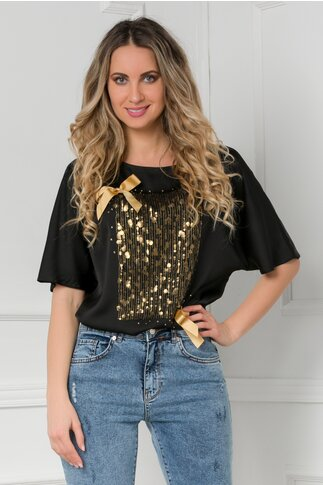 Bluza LaDonna neagra cu paiete aurii