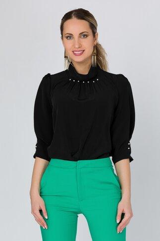 Bluza LaDonna neagra cu perlute la guler