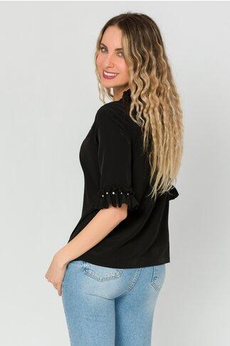Bluza LaDonna neagra cu volanase si perlute