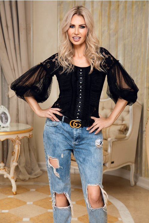 Bluza LaDonna neagra din dantela chantilly si broderie hand-made