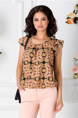 Bluza LaDonna neagra vaporoasa cu imprimeu roz si galben