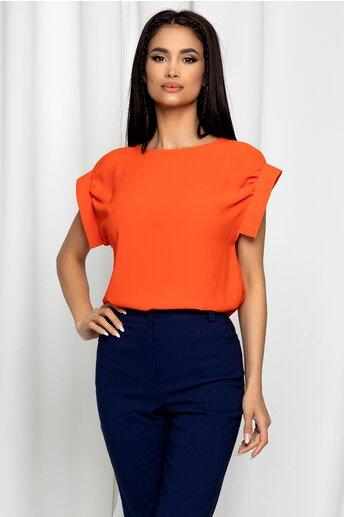 Bluza LaDonna orange cu decolteu rotund si maneci scurte