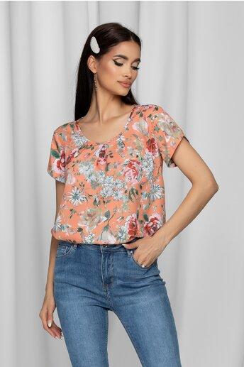 Bluza LaDonna orange cu imprimeu floral si design cu pliuri la bust