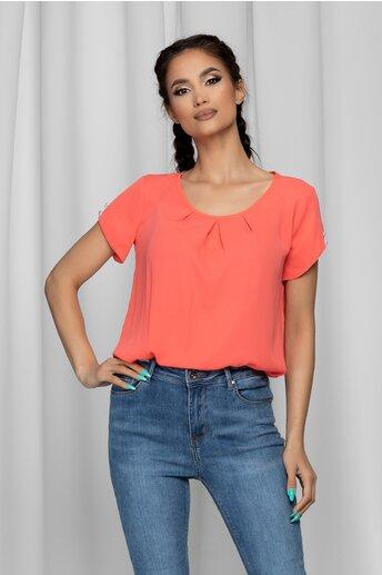 Bluza LaDonna orange cu pliuri la bust si nasturi decorativi pe maneci