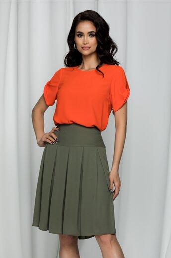 Bluza LaDonna portocalie cu decupaj la maneci