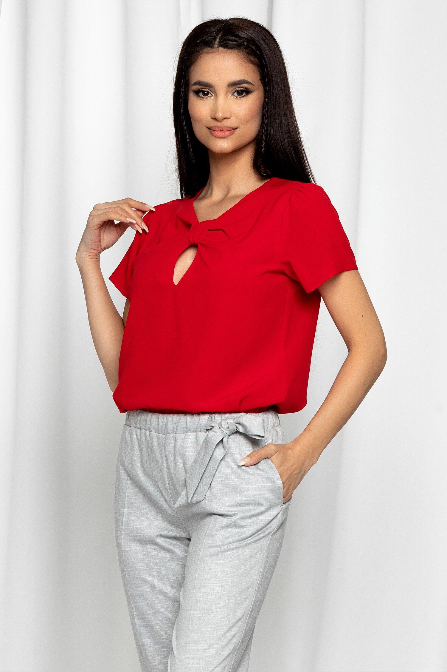 Bluza LaDonna rosie cu decupaj la bust si maneci scurte