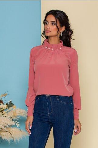 Bluza LaDonna roz coniac cu guler inalt accesorizat cu perle