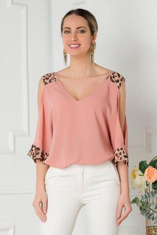 Bluza LaDonna roz coniac cu insertii animal print si umeri decupati
