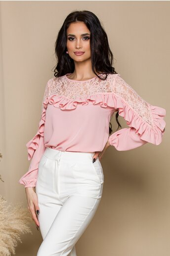 Bluza LaDonna roz cu dantela si volanase