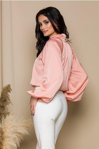 Bluza LaDonna roz cu design incretit la guler
