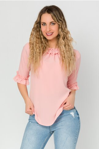 Bluza LaDonna roz cu volanase si perlute