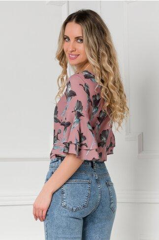 Bluza LaDonna roz prafuit cu imprimeuri florale