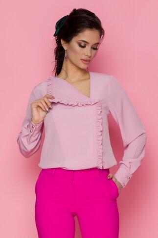 Bluza LaDonna roz prafuit cu volan pe o parte