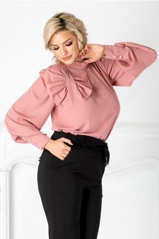 Bluza LaDonna roz pudrat cu funda maxi la umar