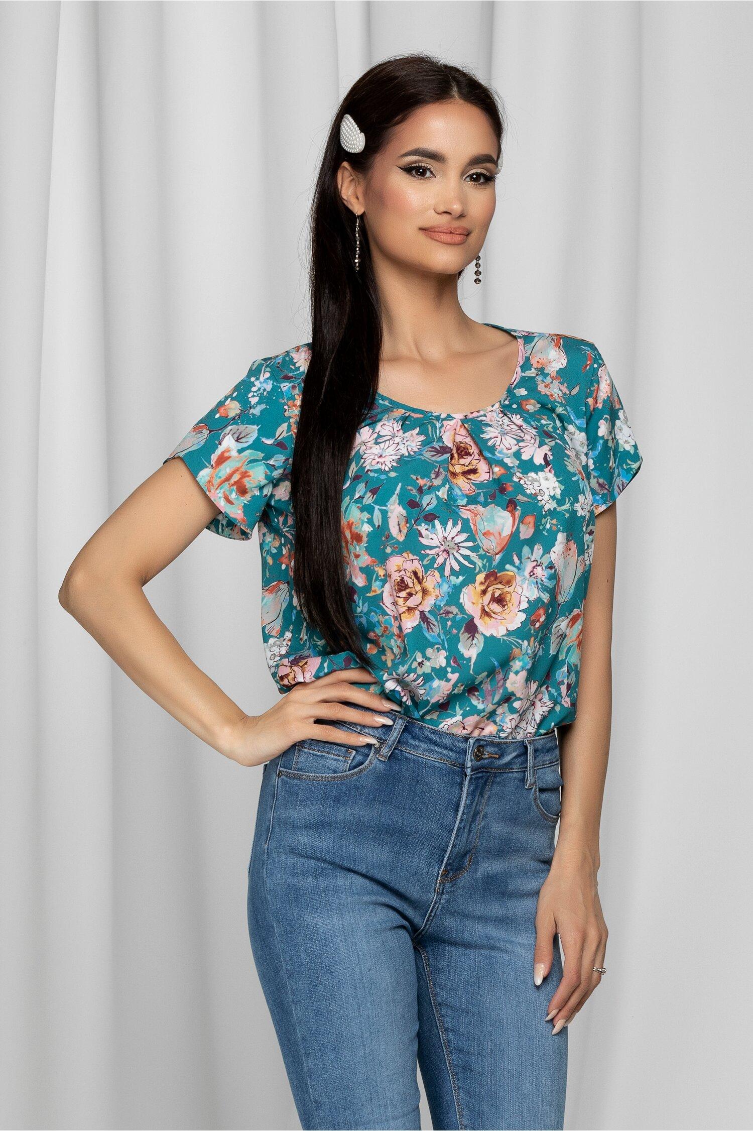 Bluza LaDonna turcoaz cu imprimeu floral si design cu pliuri la bust