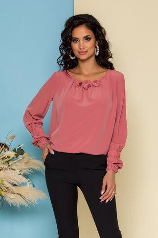 Bluza LaDonna vaporoasa roz coniac cu flori 3D la guler