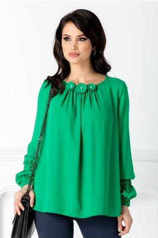 Bluza LaDonna vaporoasa verde cu flori 3D la guler