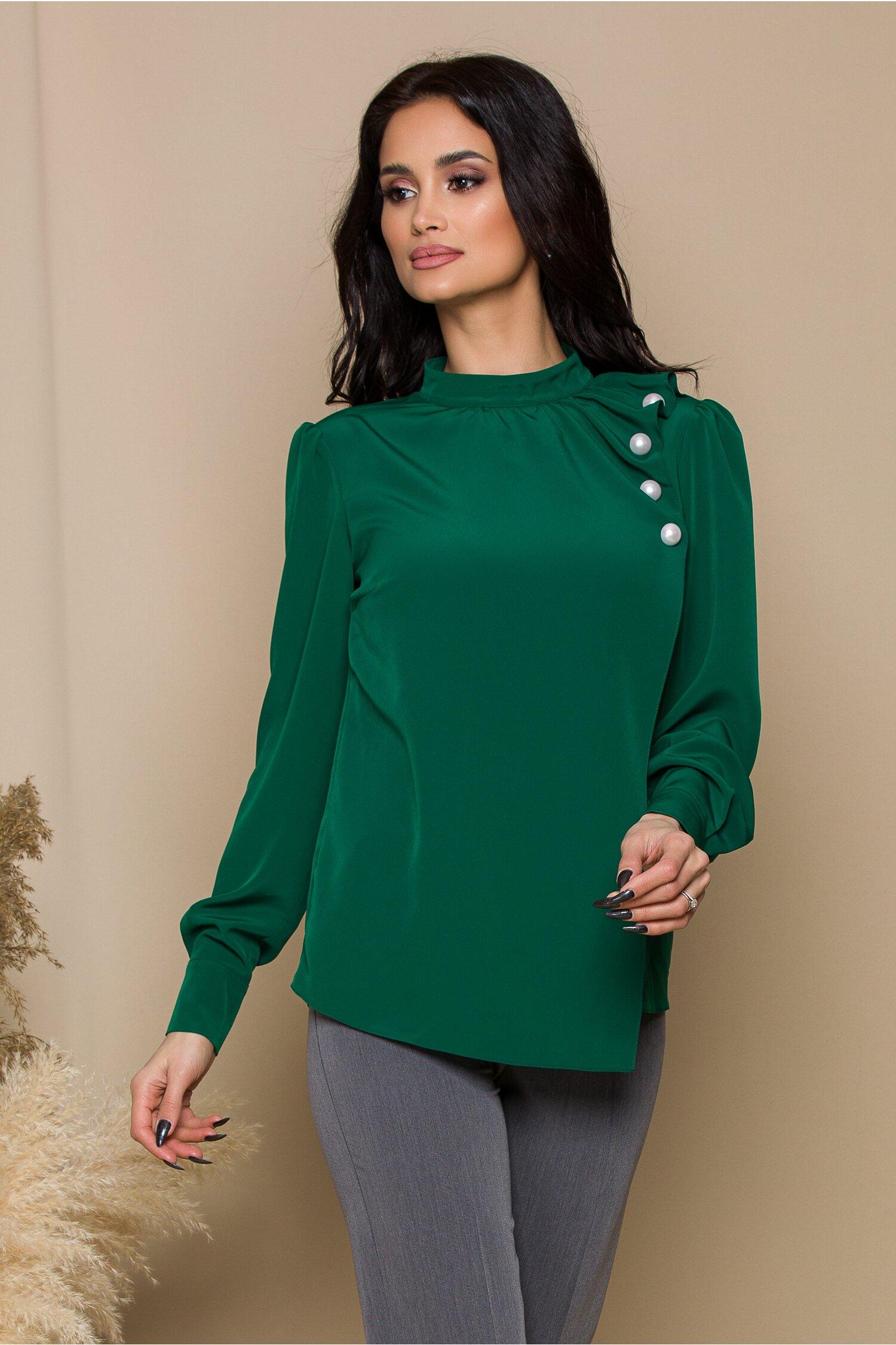 Bluza LaDonna verde cu aspect petrecut si nasturi decorativi