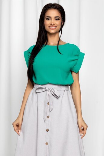 Bluza LaDonna verde cu decolteu rotund si maneci scurte