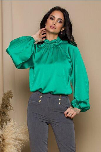 Bluza LaDonna verde cu design incretit la guler