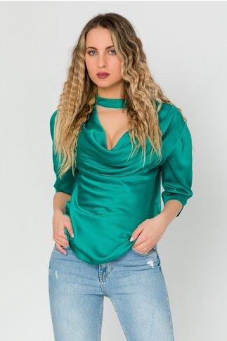 Bluza LaDonna verde cu guler lasat
