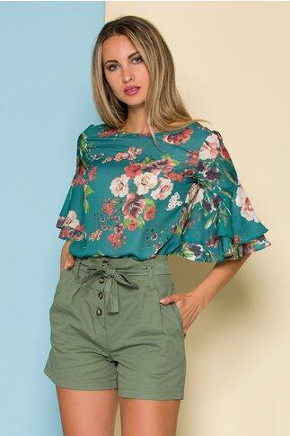 Bluza LaDonna verde cu imprimeuri florale
