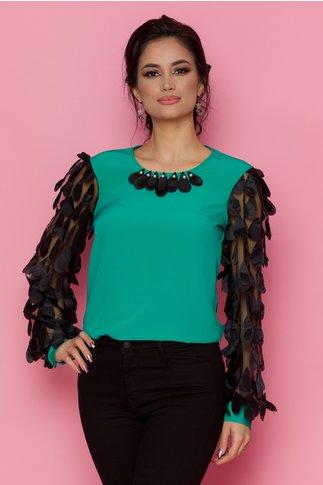 Bluza LaDonna verde cu maneci lungi din tull cu aplicatii 3D tip petale