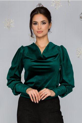 Bluza LaDonna verde din catifea cu incretituri la umeri si guler lasat