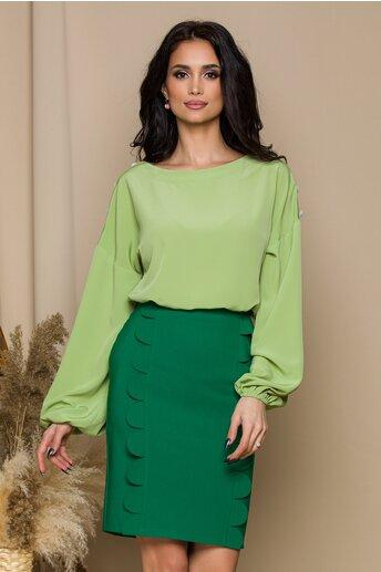 Bluza LaDonna verde fistic cu nasturi la umeri
