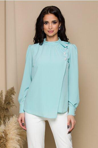 Bluza LaDonna verde mint cu aspect petrecut si nasturi decorativi