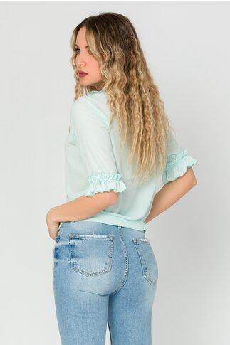 Bluza LaDonna verde mint cu volanase si perlute