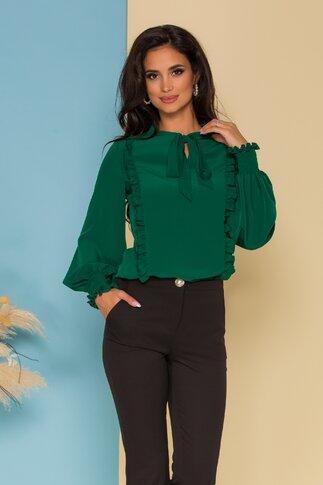 Bluza LaDonna verde pin cu volanase si guler tip esarfa