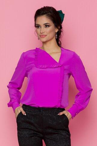 Bluza LaDonna violet cu volan pe o parte