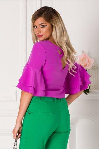 Bluza LaDonna violet cu volane la maneci