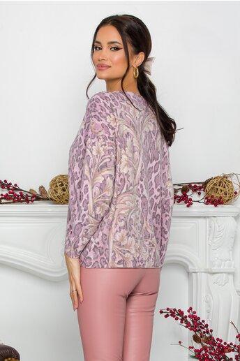 Bluza Lamer roz cu animal print si flori