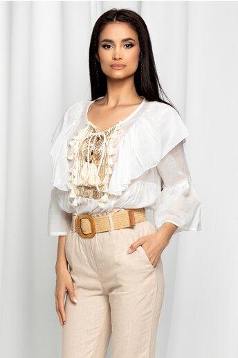 Bluza Lara alba cu volane la bust si aplicatii stralucitoare