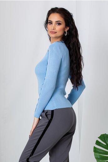 Bluza Lara bleu cu capse decorative pe maneci