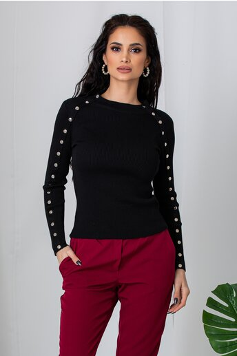 Bluza Lara neagra cu capse decorative pe maneci