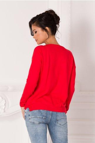 Bluza Lara rosie cu flori 3D si text imprimat pe fata
