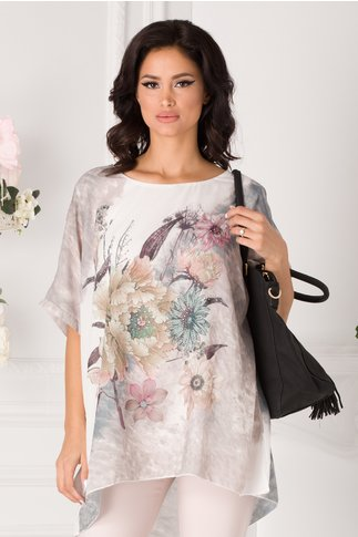 Bluza lejera alba cu bej in degrade si imprimeu floral