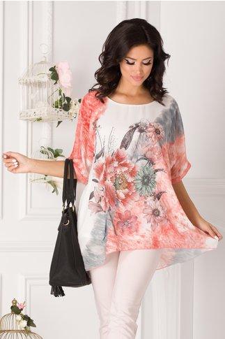 Bluza lejera alba cu imprimeu floral si caramiziu in degrade