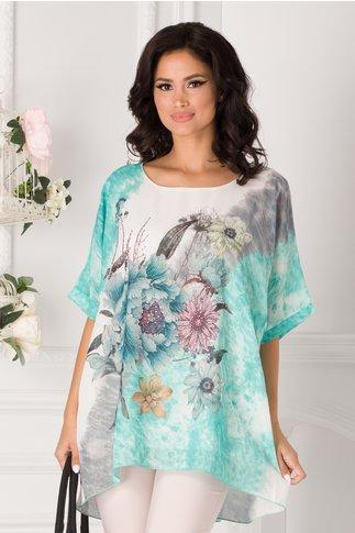Bluza lejera alba cu imprimeu floral si turcoaz in degrade