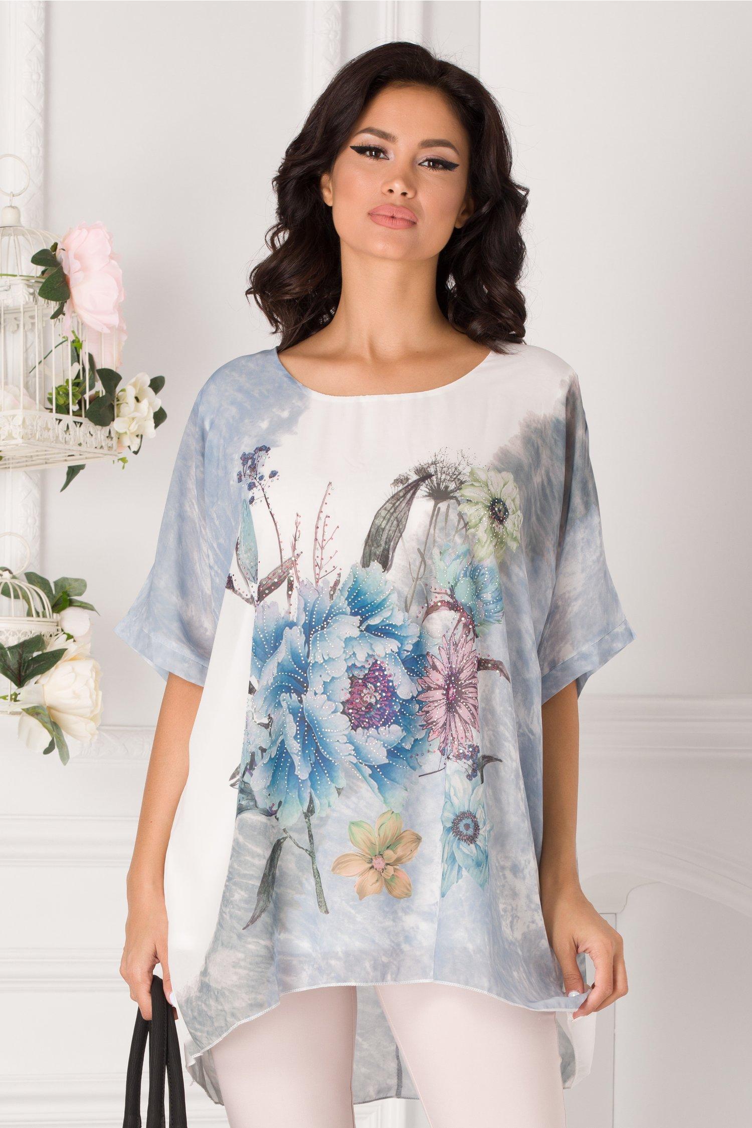Bluza lejera bleu cu imprimeu floral