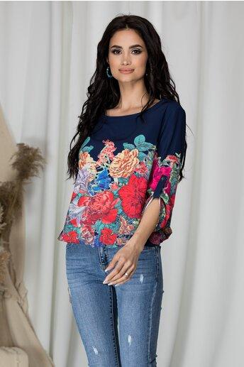 Bluza lejera Milena bleumarin cu imprimeu floral multicolor