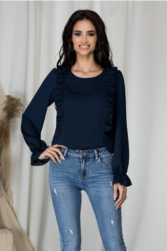Bluza lejera Samira bleumarin cu volane la bust