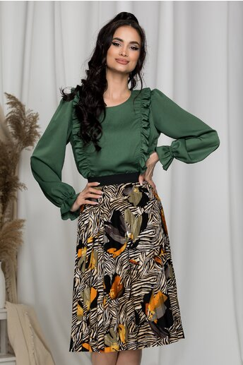 Bluza lejera Samira verde cu volane la bust