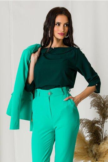 Bluza lejera verde cu guler Peter Pan